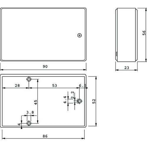 coffret plastique petit modele noir 2pm holdelec elecdif pro. Black Bedroom Furniture Sets. Home Design Ideas